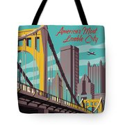 Pittsburgh Poster - Vintage Travel Bridges Tote Bag
