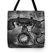 Vintage Telephone In Black And White  Tote Bag