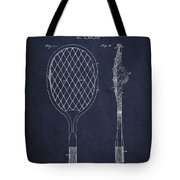 Vintage Tennnis Racket Patent Drawing From 1921 - Navy Blue Tote Bag