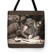 Vintage Young Woman Writing  Tote Bag