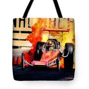 Vintage Top Fuel Dragster Fire Burnout-wild Bill Carter Tote Bag