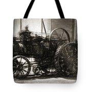 Vintage Tractor Drawing In Industrialised 1900s Tote Bag