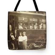 Vintage Train All Aboard Tote Bag