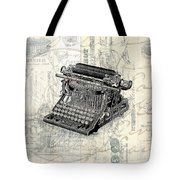 Vintage Typewriter French Letters Square Format Tote Bag