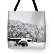 Vintage Wagon In Snow And Fog Filled Valley Tote Bag