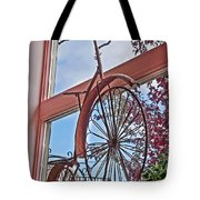 Vintage Wrought Iron Bike In Window Art Prints Tote Bag