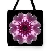 Violet And White Dahlia I Flower Mandala Tote Bag