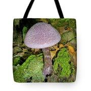 Violet Cortinarious -cortinarious Violaceus Mushroom On Mossy Log Tote Bag
