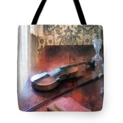 Violin On Credenza Tote Bag
