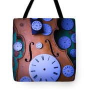 Violin With Watch Faces Tote Bag by Garry Gay