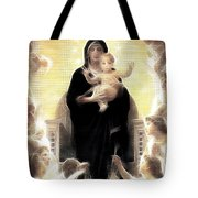 Virgin And Child Fractalius Tote Bag
