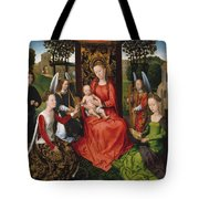 Virgin And Child With Saints Catherine Of Alexandria And Barbara Tote Bag