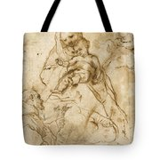 Virgin And Child With Saint Francis Tote Bag