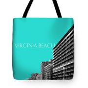 Virginia Beach Skyline Boardwalk  - Aqua Tote Bag