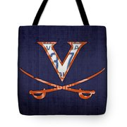 Virginia Cavaliers College Sports Team Retro Vintage Recycled License Plate Art Tote Bag