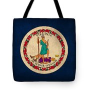 Virginia State Flag Art On Worn Canvas Tote Bag
