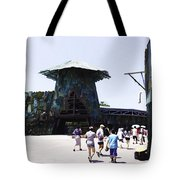 Visitors Heading Towards The Waterworld Attraction At Universal Studios Tote Bag