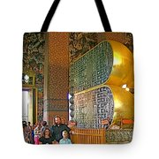 Visitors Pass Bottoms Of Feet Of Reclining Buddha In Wat Po In B Tote Bag