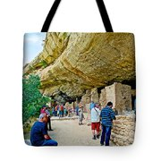 Visitors To Spruce Tree House On Chapin Mesa In Mesa Verde National Park-colorado Tote Bag