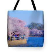 Visitors To The Blooms On The Basin Tote Bag