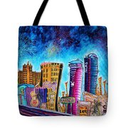 Viva Las Vegas A Fun And Funky Pop Art Painting Of The Vegas Skyline And Sign By Megan Duncanson Tote Bag