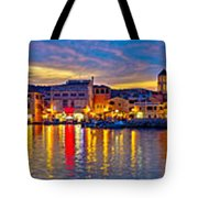 Vodice Waterfront Colorfu Evening Panorama Tote Bag