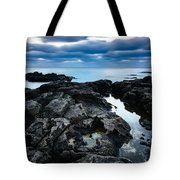 Volcanic Coastline And Cloudy Sunset Tote Bag