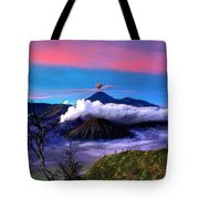 Volcano In The Clouds Tote Bag