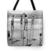 Volleyball On Stilts Tote Bag by Underwood Archives
