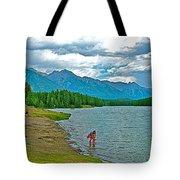 Wading In Johnson Lake In Banff Np-alberta Tote Bag