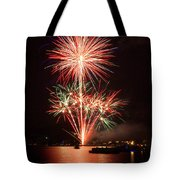 Wading View Of Fireworks Tote Bag