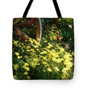 Wagon Wheel Flowers Tote Bag