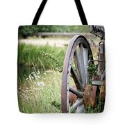 Wagon Wheel In Grass Tote Bag