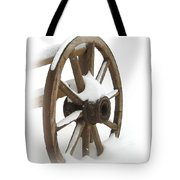 Wagon Wheel In Snow Tote Bag