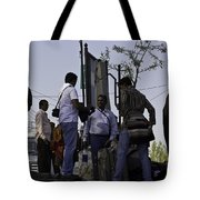 Waiting At The Top Of The Steps Next To The Dal Lake In Srinagar Tote Bag