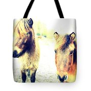 Eager Horses Waiting For Their Simple Dinner Tote Bag