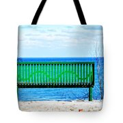Waiting For Summer - The Green Bench Tote Bag