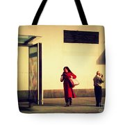 Waiting For The Bus - New York City Street Scene Tote Bag