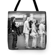 Waiting In Line At Grand Central Terminal 1 - Black And White Tote Bag