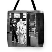 Waiting In Line At Grand Central Terminal 2 - Black And White Tote Bag