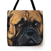 Waiting Bullmastiff Drawing Tote Bag by Michelle Wrighton