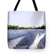 Wake From The Wash Of An Outboard Motor Boat In A Lagoon Tote Bag