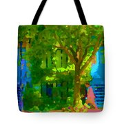 Walk In The City Past Blue Houses Staircases And Shade Trees Montreal Summer Scene Carole Spandau Tote Bag
