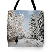 Walk In The Winterly Forest With Lots Of Snow Tote Bag