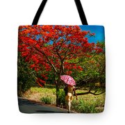 Walking Along The Road. Mauritius Tote Bag