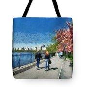 Walking Around Reservoir In Central Park Tote Bag