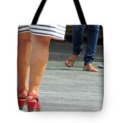 Walking In Red Sandals Tote Bag