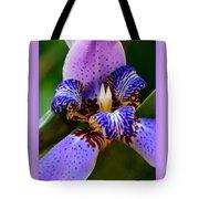 Walking Iris With Purple Border Tote Bag
