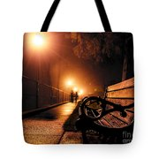 Walking On A Misty Evening Tote Bag