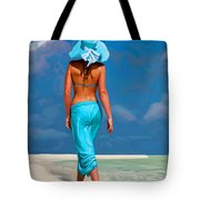 walking on the beach V Tote Bag